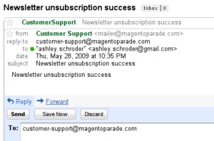 This shows the new feature, a reply-to field that email clients will use to populate the reply to field.