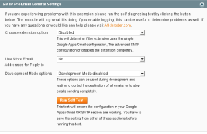 This screenhot shows the main configuration of the new combined Magento email extension.