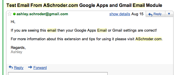 An Example of the SMTP Pro/Google Apps/Gmail self test email sent by the ASchroder.com Magento Email extensions