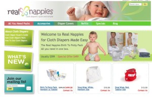 RealNappiesUSA Magento Home page showing the simple category display technique