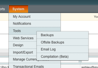 The new Magento email log menu option - the observant among you may notice another little gem in this screenshot, stay tuned!