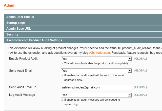 Configure the Product Audit Settings