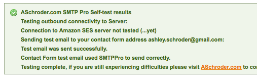 SMTP Pro Self Test Output