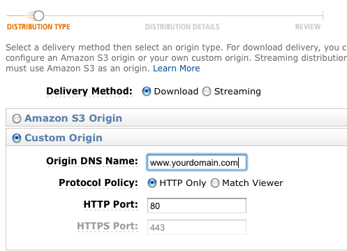 Specify Custom Origin