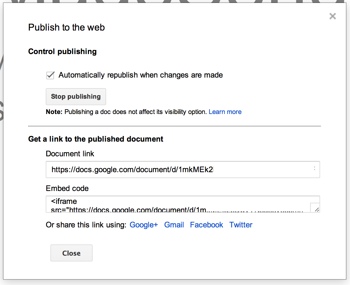 Publish Google Docs dialog